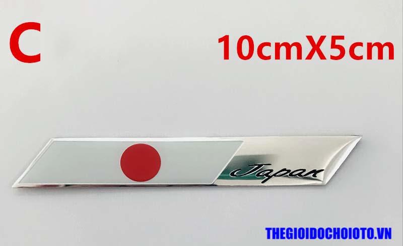 Logo kim loại cờ Nhật Bản dán xe ô tô