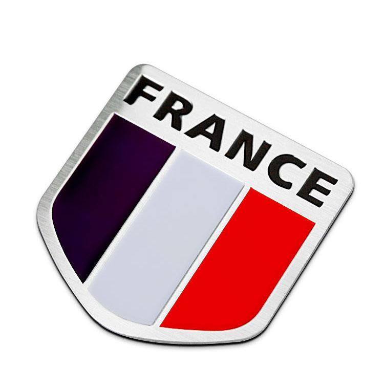 Logo kim loại cờ Pháp dán xe ô tô