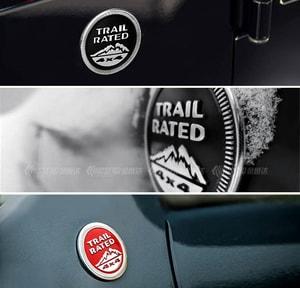 Logo 3D kim loại Trail rate dán trang trí xe ô tô ms-359