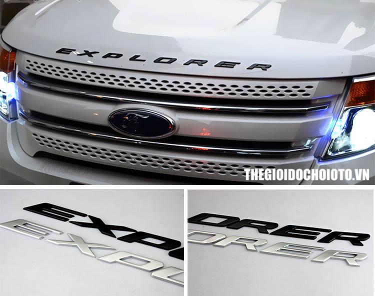 Bộ chữ EXPLORER 3d kim loại dán trang trí xe ô tô