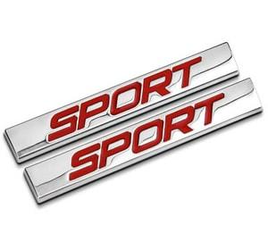 Tem logo 3d Chữ Sport dán ô tô (mẫu 11) MS-92