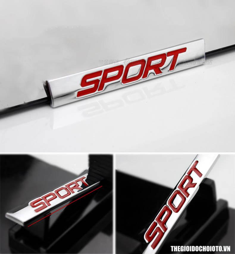 Tem logo 3d Chữ Sport dán ô tô