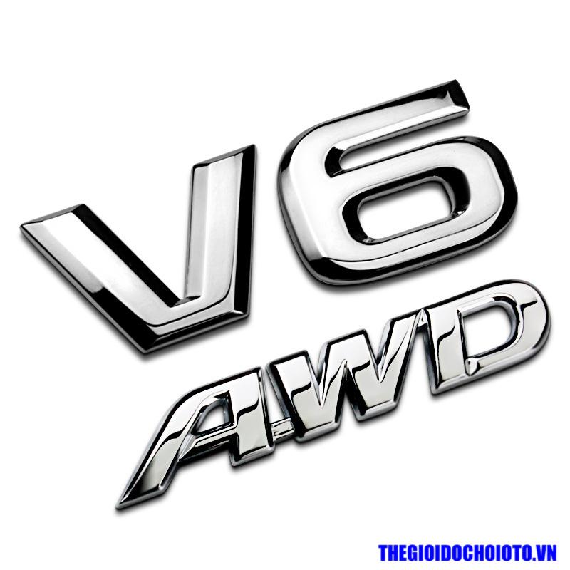 Tem 3d chữ V6 dán xe ô tô
