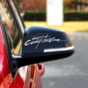 Tem chữ Spirit of competition dán trang trí gương ô tô MS-154