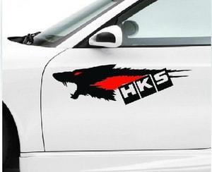 Tem hình con sói HKS dán trang trí xe ô tô ms-157