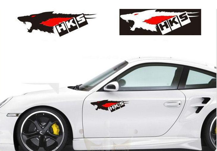 Tem hình con sói HKS dán trang trí xe ô tô