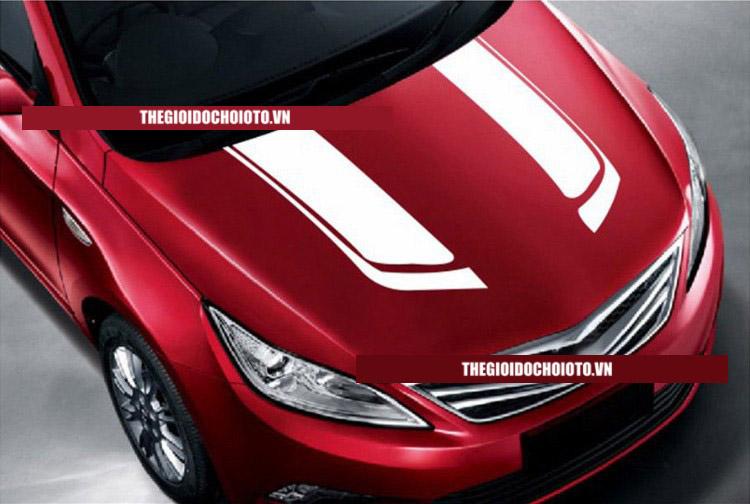 Tem dán nắp capo tô tô dải trang trí phong cách thể thao xe đua (mẫu 1)