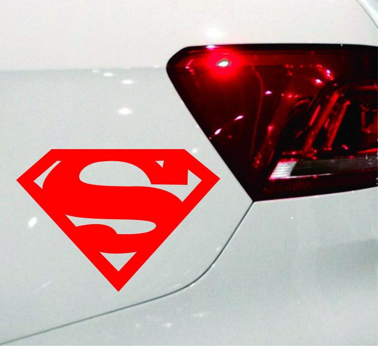 Tem decal chữ S biểu tượng Super Man Siêu nhân dán xe ô tô
