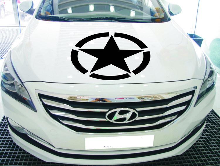 Tem decal hình ngôi sao có vòng tròn dán xe ô tô