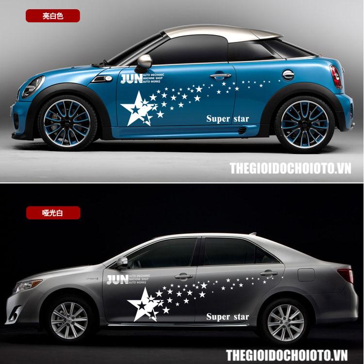 Tem decal ngôi sao dán sườn xe ô tô