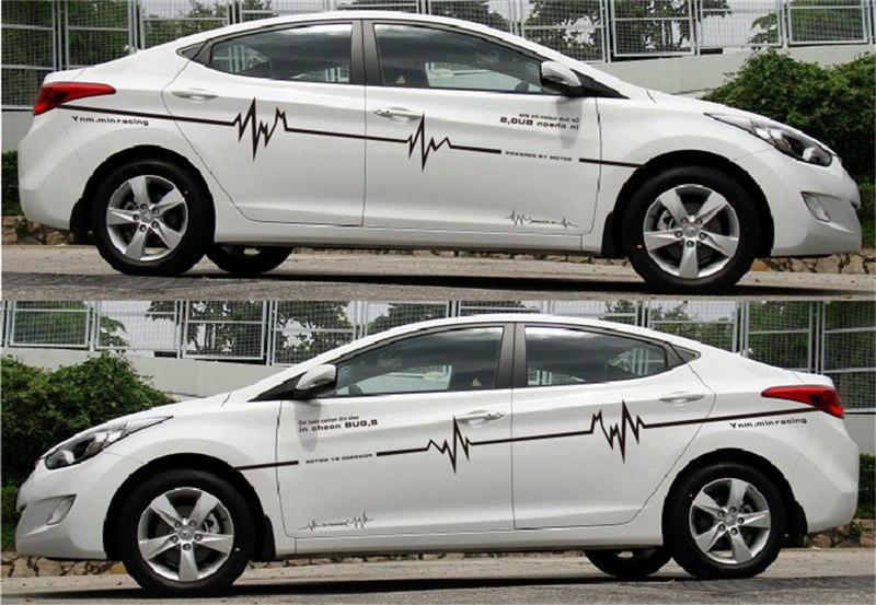 Tem hình sóng điện dán trang trí sườn xe ô tô