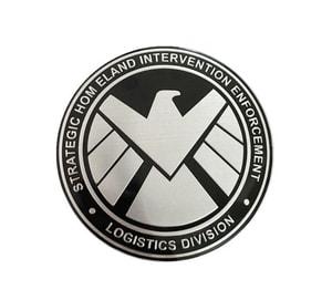 Tem logo kim loại khiên hình đại bàng shield (mẫu 1) ms-273