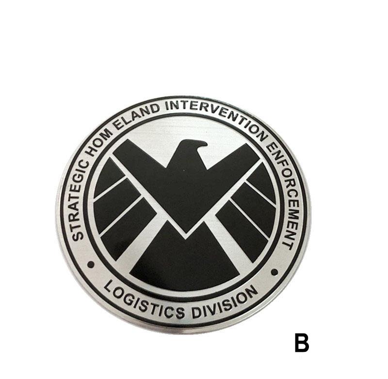 Tem logo kim loại khiên hình đại bàng shield  (mẫu 1)