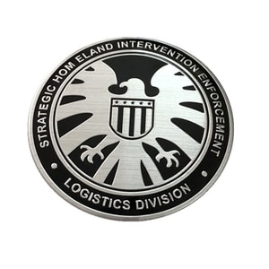 Tem logo kim loại khiên hình đại bàng shield (mẫu 2) ms-274