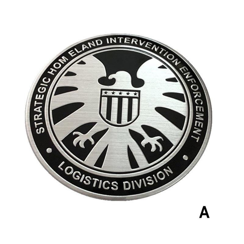 Tem logo kim loại khiên hình đại bàng shield  (mẫu 2)