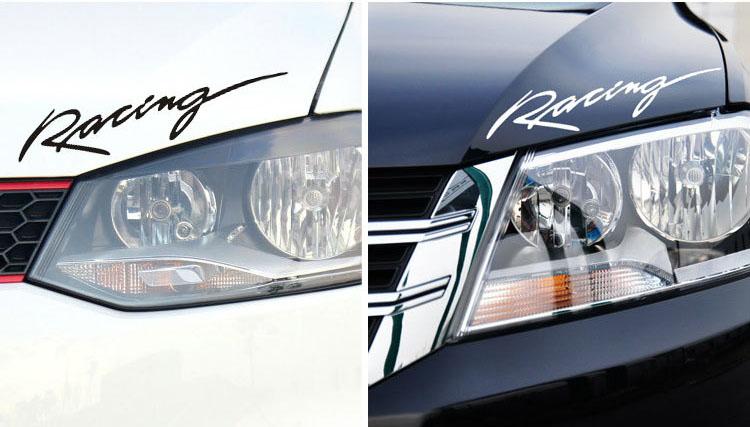Tem chữ Racing dán trang trí đầu xe ô tô