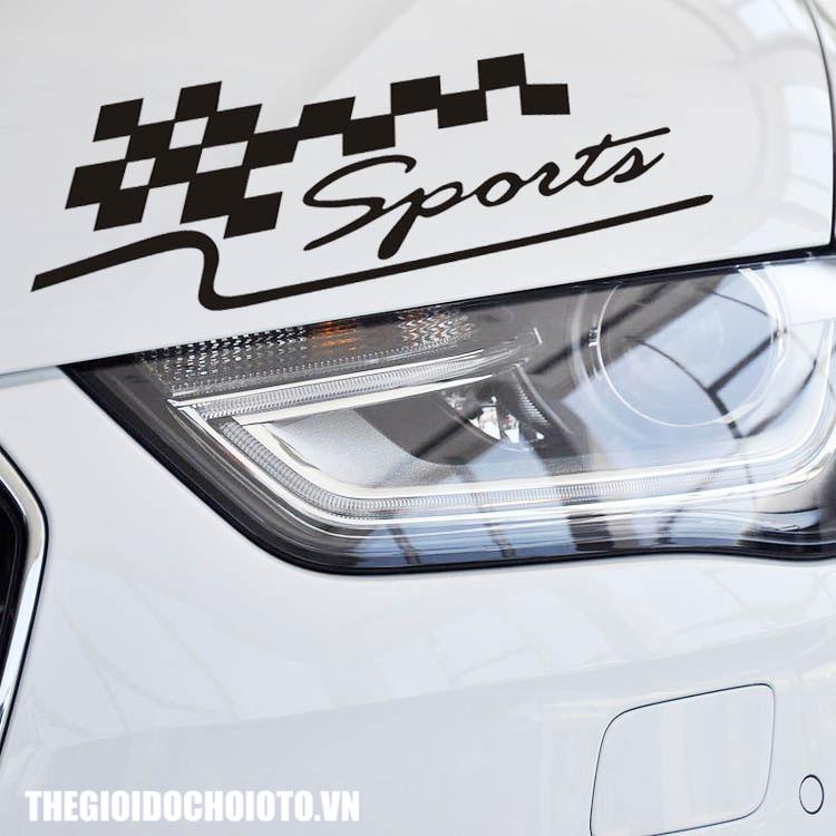 Tem xe cờ đua chữ sport dán xe ô tô