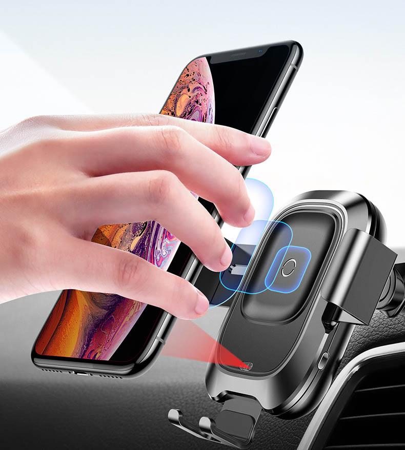 Giá đỡ điện thoại Baseus cảm biến hồng ngoại để taplo ô tô kiêm sạc không dây