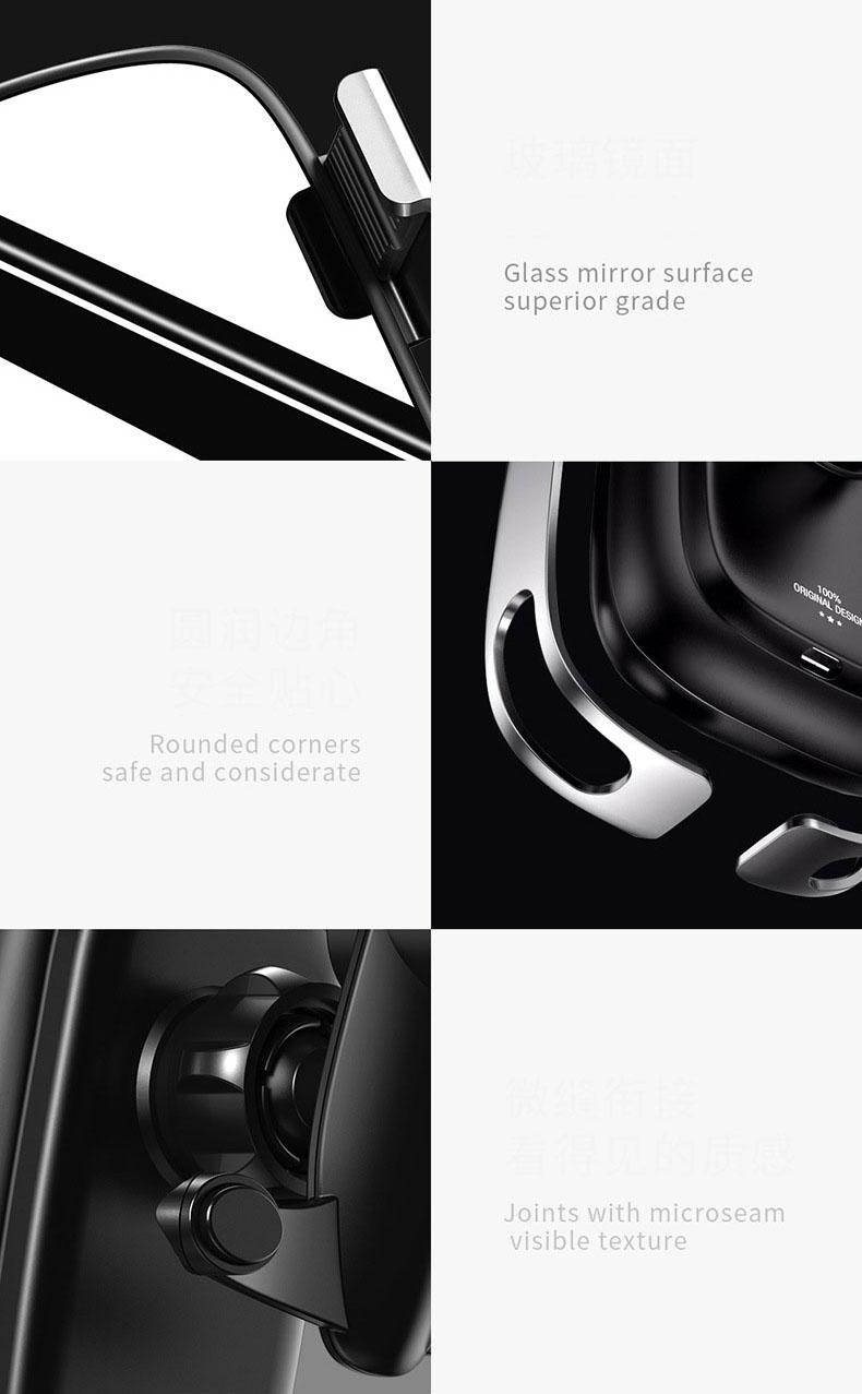 Giá đỡ điện thoại Baseus cảm biến hồng ngoại kẹp mở tự động kiêm sạc không dây trên ô tô ( mẫu 68)