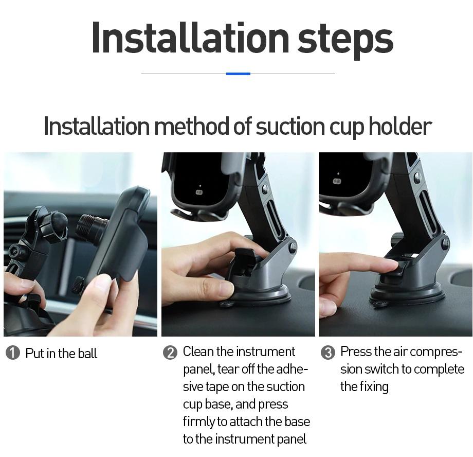 Giá đỡ điện thoại Baseus cảm biến hồng ngoại kiêm sạc nhanh không dây trên ô tô có đèn( mẫu 88)