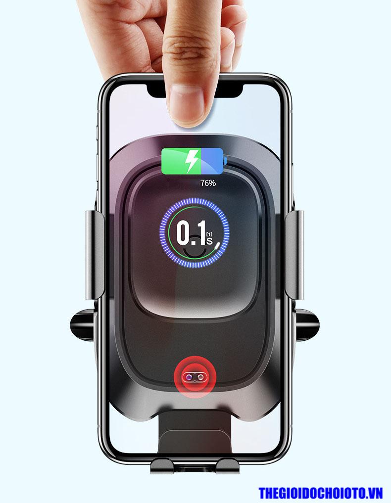 Giá đỡ điện thoại Baseus cảm biến hồng ngoại kẹp mở tự động kiêm sạc không dây trên ô tô