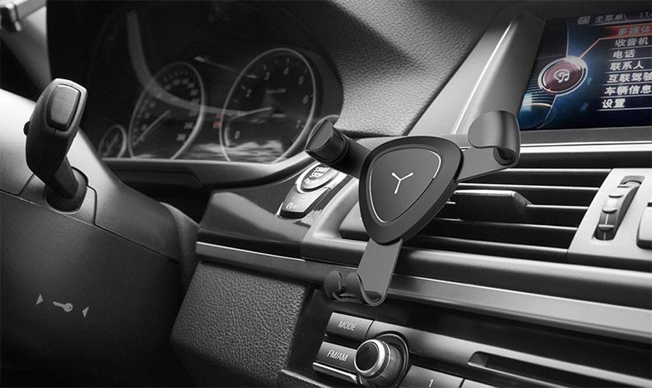 Giá đỡ điện thoại kẹp cửa gió ô tô tam giác trọng lực (mẫu 15)