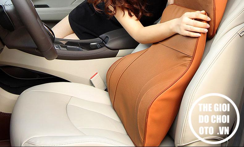 Bộ gối đầu tựa lưng ô tô cao su non bọc da cao cấp.