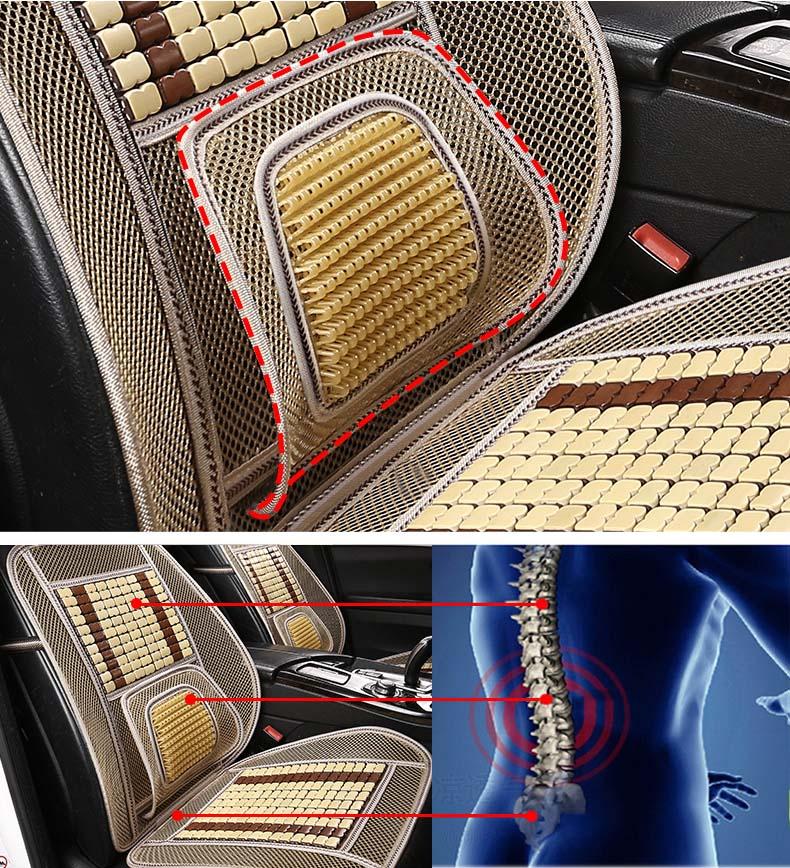Tấm lưới tựa lưng massage hạt gỗ, đệm tre cho ô tô
