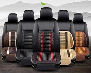 Tấm lót ghế và tựa lưng ô tô có hạt gỗ massage cao cấp (mẫu 9)