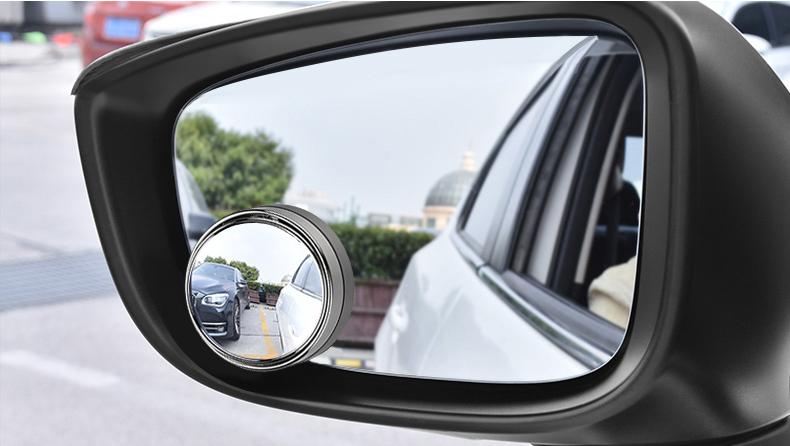 Gương cầu lồi có khung viền bạc 50 mm xóa điểm mù dán gương ô tô