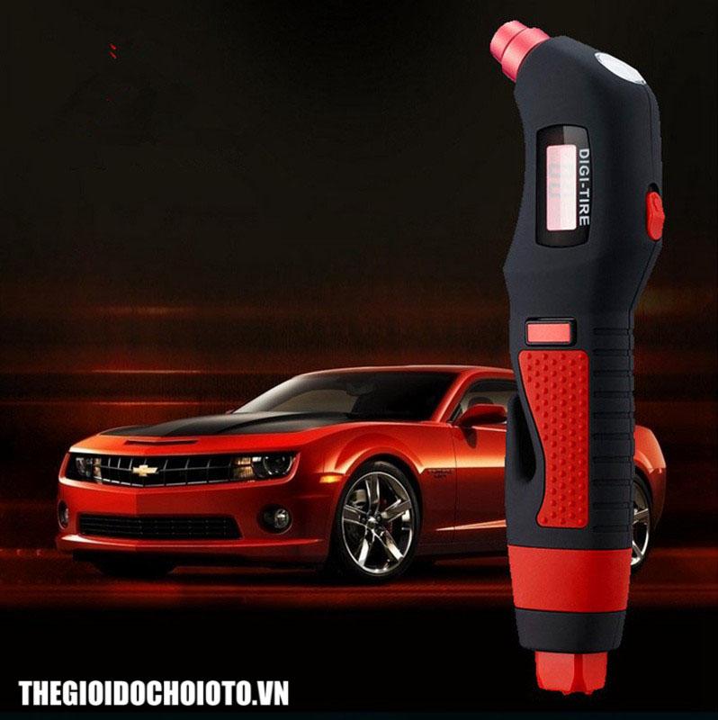 Đồng hồ đo áp suất lốp đa năng kiêm búa phá kính, dao cắt dây an toàn, đèn pin