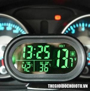 Đồng hồ điện tử đo thời gian, nhiệt kế, điện áp ô tô (mẫu 1)