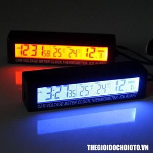 Đồng hồ điện tử đo thời gian, nhiệt kế, điện áp ô tô (mẫu 2)