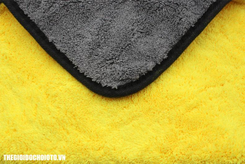 Khăn lau xe hai mặt màu vàng và  xám mật độ cao, dày, mềm mại, thấm hút tốt