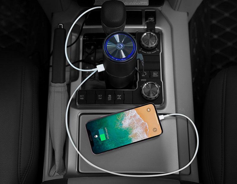 Máy lọc không khí ion âm trên ô tô vỏ hợp kim nhôm ( mẫu 3 )