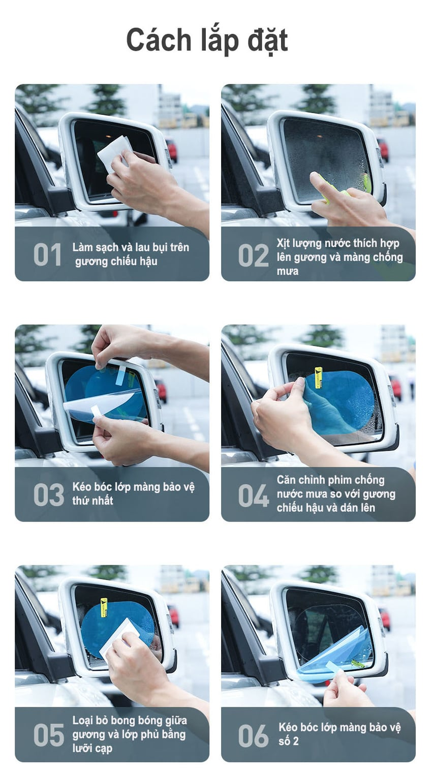 Miếng dán chống nước cho gương chiêu hậu ô tô chính hãng Baseus