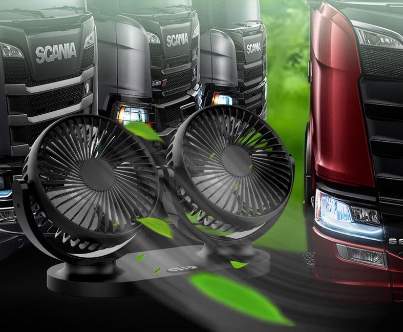 Quạt đôi cho ô tô chạy điện USB trên xe 12v24v