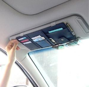 Ví da kẹp chắn nắng xe ô tô đựng thẻ, giấy tờ ( mẫu 2)
