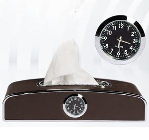 Hộp đựng khăn giấy trên ô tô có đồng hồ và bảng số điện thoại ( mẫu 6 )
