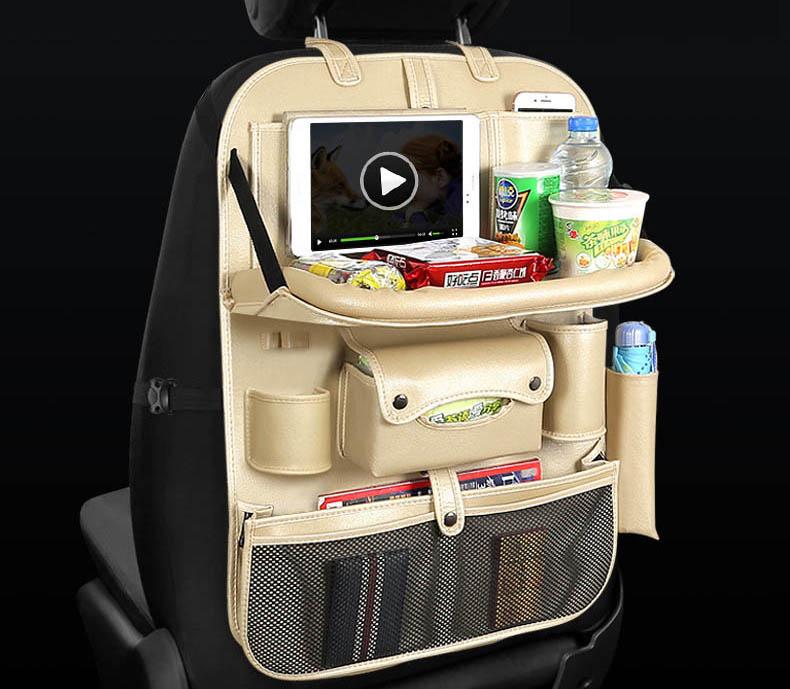 Túi treo sau ghế ô tô có bàn ăn và 4 cổng usb